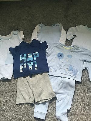 Baby Boy Blue Clothing 0-3 Month Bundle - 5 Outfits - BHS, Asda & Mothercare