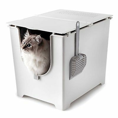Cat Litter Box Covered Enclosed Open Flip Up Lid High Side Tray Scoop Tarp Kitty