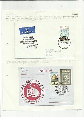 Cyprus 1981 Ataturk stamp exhibiyion covers x 2 written up