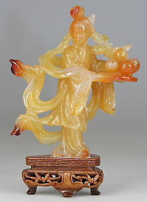 Antique Chinese Carved Agate Carnelian Statue Kwanyin Buddha Statute Stand 19th