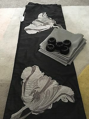 Black And Silver Table Runner, Set Of 6 Napkins And Napkin Rings