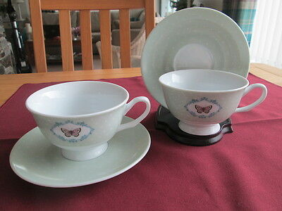 Set Of 2 Laura Ashley Home Butterfly Tea Cups And Saucers