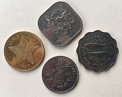 Bahamas 1969 Proof Coins 1 5 10 15 Cents 4 Coin Lot Last Year Large 1 Cent