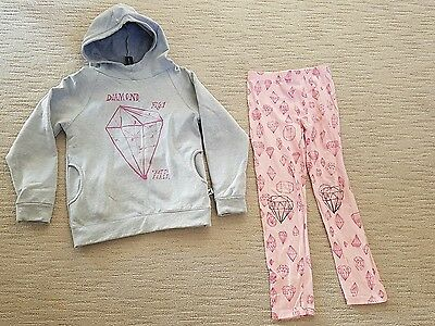Minti girls pink grey jumper hoody and pants sz 8