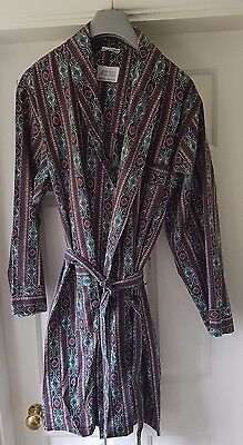 Vintage ROYALCRAFT Smoking Jacket Short Length Dressing Gown - Geometric - Large