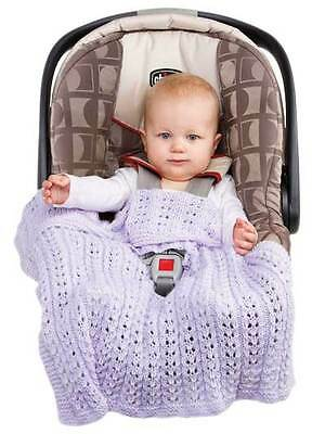 Hand Knitted Newborn Baby Car Seat/Stroller Blanket and Cap