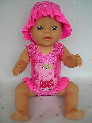 """Dolls clothes  for 17"""" Baby Born  doll~PEPPA PIG PINK SWIMMING COSTUME & SUN HAT"""