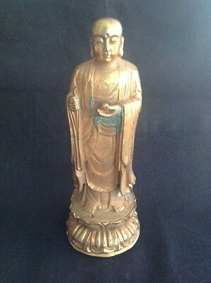 Vintage Gilt Bronze Buddha Holding Peach Joss Stick Hand Hole Double Lotus Base