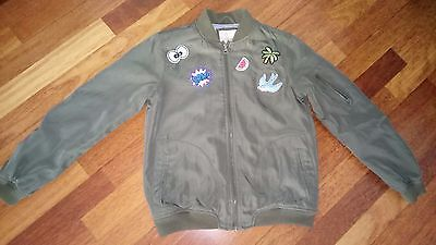 girls green karki bomber jacket age 11/12