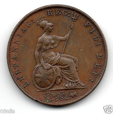 1858 Half Penny Young Head Queen Victoria Coin, English Antique Great Britain GB