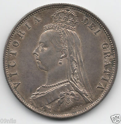 1887 Antique Queen Victoria Silver Half Crown Coin Jubilee Head -High Grade -#B4