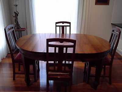 Antique Extendable Dining Table (Blackwood) & 4 Chairs