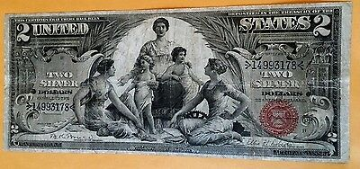 Educational Us $2 Two Dollar Silver Certificate 1896 Large Currency Note