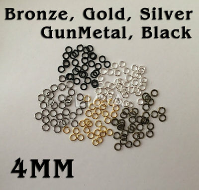 50/100 Silver Gold Black Gun Metal Bronze Split Ring Open Jump Rings Round 4mm