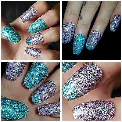 MERMAID Super Holographic Effect Medium COFFIN SHAPE False Nails x 20