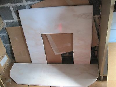 Marble fire back panel and hearth - rose marble.  Collection only NE4 area