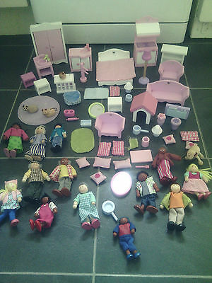 Elc Wooden Dolls Furniture And Wooden Dolls And Pets Bundle