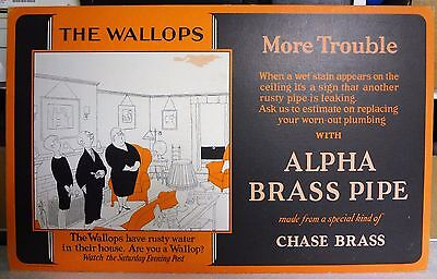 Vintage 1928 Wallops Comic~ALPHA BRASS PIPE~Advertising Hardware Store Sign