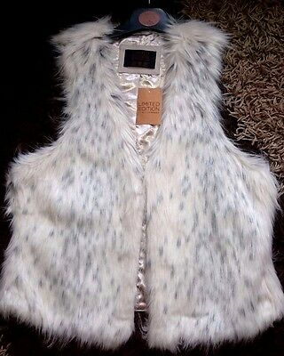 FUR LADIES WAISTCOAT GILET jacket UK 10 12 EUR 38 40 LIMITED EDITION PRIMARK NEW