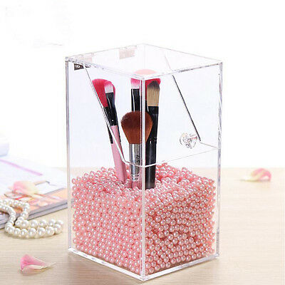 Acrylic Clear Cosmetic Brush Holder Box Organizer Storage Container Dustproof Ma