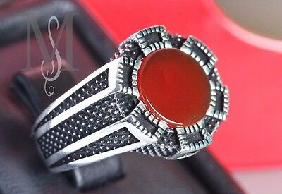 rare  925 STERLING SILVER real red yemeni aqeeq agate  islamic