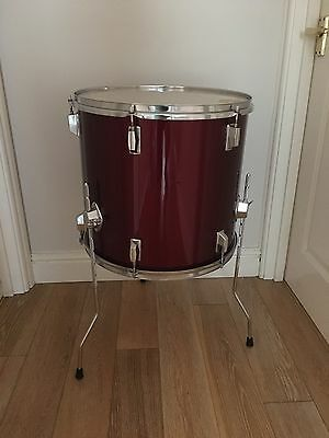 "16"" Floor Tom Tom In Deep Wine Red Wrap For Drum Kit"