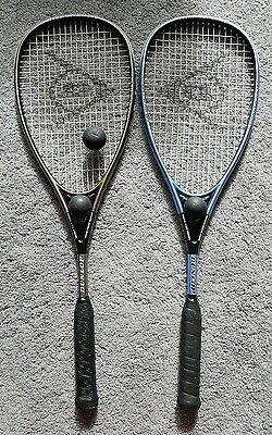 2 x Dunlop Premium Carbon Squash Rackets with 3 balls and Cases Good Condition