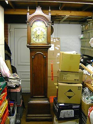 Antique Grandfather Clock - Brass Dial - 8 Day.
