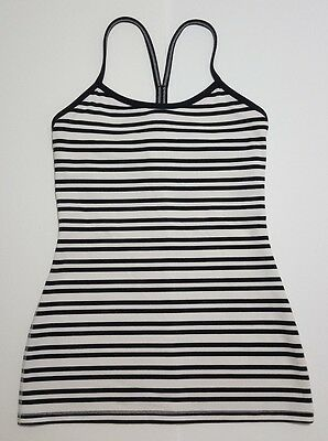 Lululemon Women's Black White Stripe Flow Y Racerback Tank Top Yoga Sz 4/6