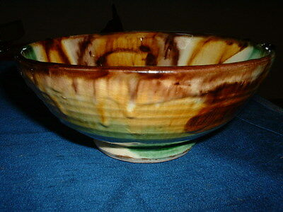 Stunning Art Pottery Earthenware Bowl With A Majolica Glaze