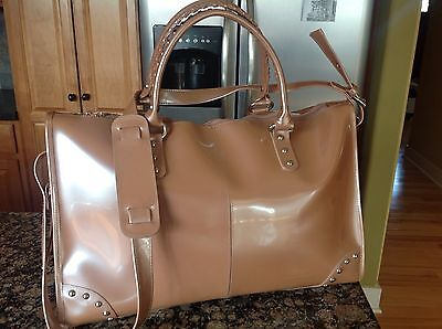 Beijo large Peachy Pink Patent Shiny Shoulder Bag Overnight Travel Tote