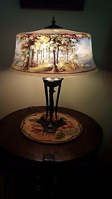 Antique Old Vintage Pairpoint Reverse Painted Tree Scene Lamp
