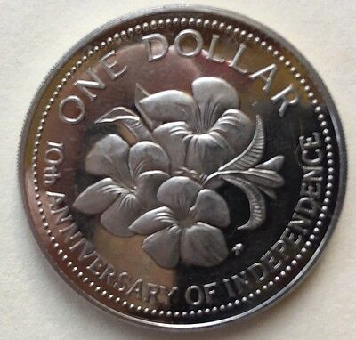 Bahamas 1983 Hibiscus One Dollar Proof Coin Uncirculated RARE Low Mintage!
