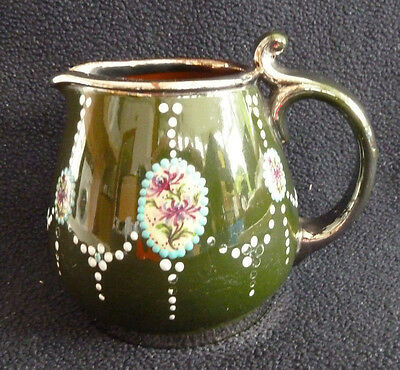 Small Vintage Pottery Jug Enamel Hand Painted Floral Decoration Metal Rim Green