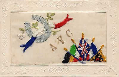 Army Veterinary Corps: Ww1 Embroidered Military Silk Postcard