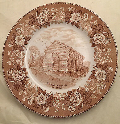 Lincoln Birthplace, brown Alfred Meakin Staffordshire plate, 10 inches