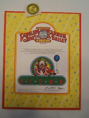 Ringling Brothers 'honorable Clown Certificate' W/paper Gold Seal. 11 X 14