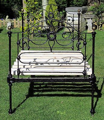 Beautiful French Brass and Iron Standard Single Bed with Pine Slat Base
