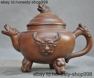 "7"" Old China Yixing ZiSha Pottery Carved Oxen dragon beast TeaPot Tea makers"