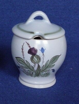 Buchan Stoneware, Thistle Design pot with ceramic lid, 8cm tall, Marked 218 1 8