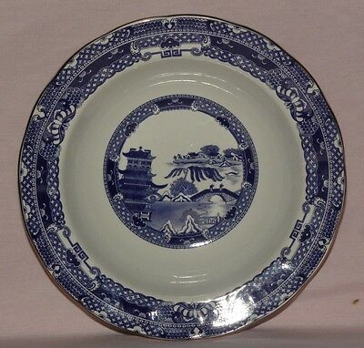 Ringtons Willow Pattern, Cereal / Soup / Dessert Bowl. rimmed, gold edged
