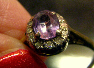 Old Antique Dainty AMETHYST & DIAMOND 18kt Yellow 18ct GOLD Ring Size L