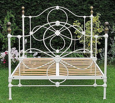 Brass and Iron Double Bed with Sprung Wooden Base