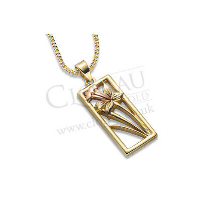 NEW Clogau Yellow & Rose Gold St Davids Daffodil Pendant *SAVE 30% OFF RRP £510*