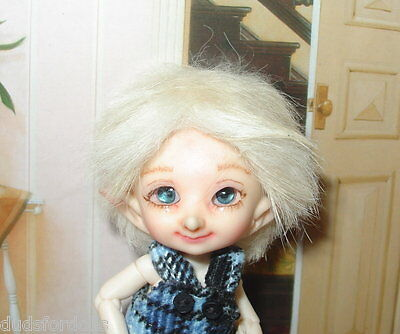 Custom made mohair boy style wig for Fairyland Real Puki dolls realpuki