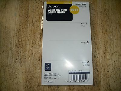 Filofax Personal Week to View Diary Refill 2017  New!