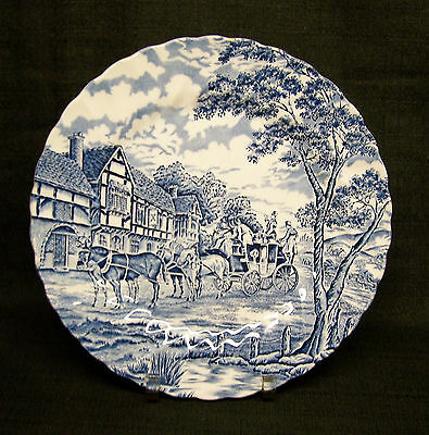 "Myott Staffordshire Royal Mail/Blue 9 3/4"" Luncheon Plate-Made in England"