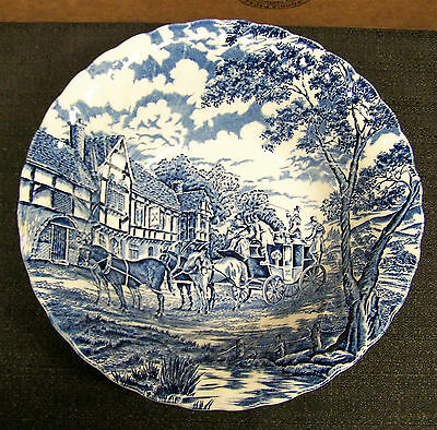 """Myott Staffordshire Royal Mail/Blue 8 1/2"""" Round Serving Bowl-Made in England"""