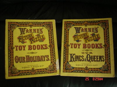 2 volumes Warne's toy books picture puzzle (Kings & Queens , Our holidays)