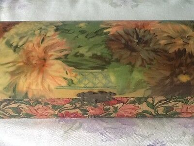 Antique Victorian Celluloid Wood Glove Trinket Jewelry Floral Box Shabby Beauty